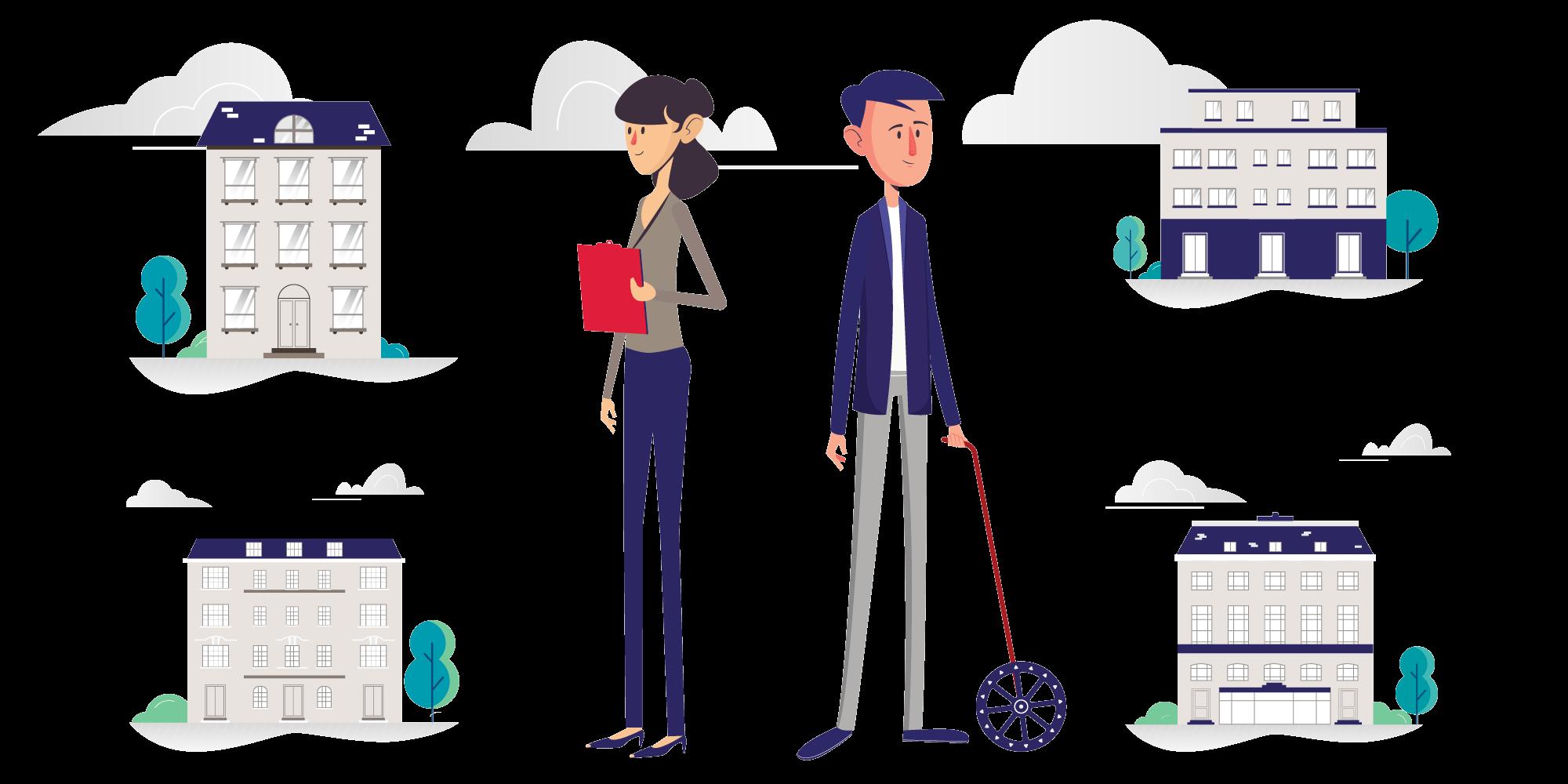 illustration of two surveyors