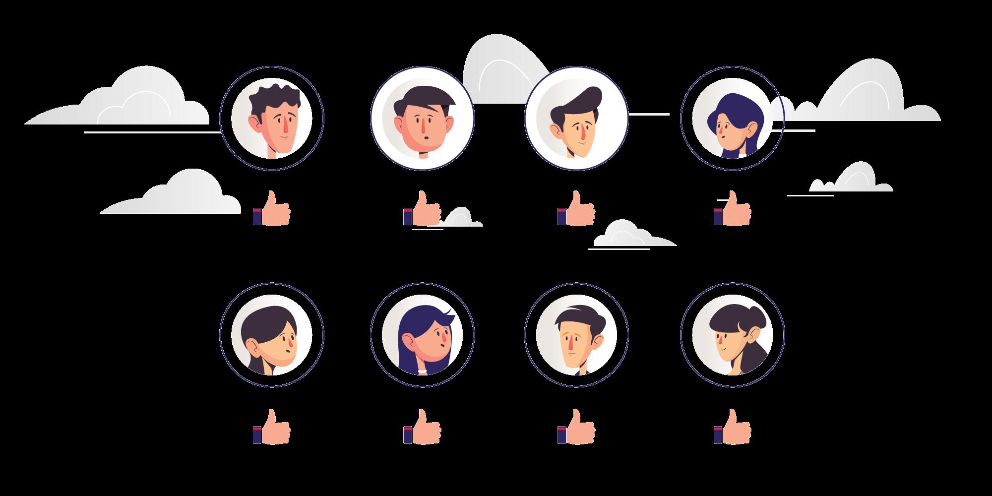 Eight illustrated portraits